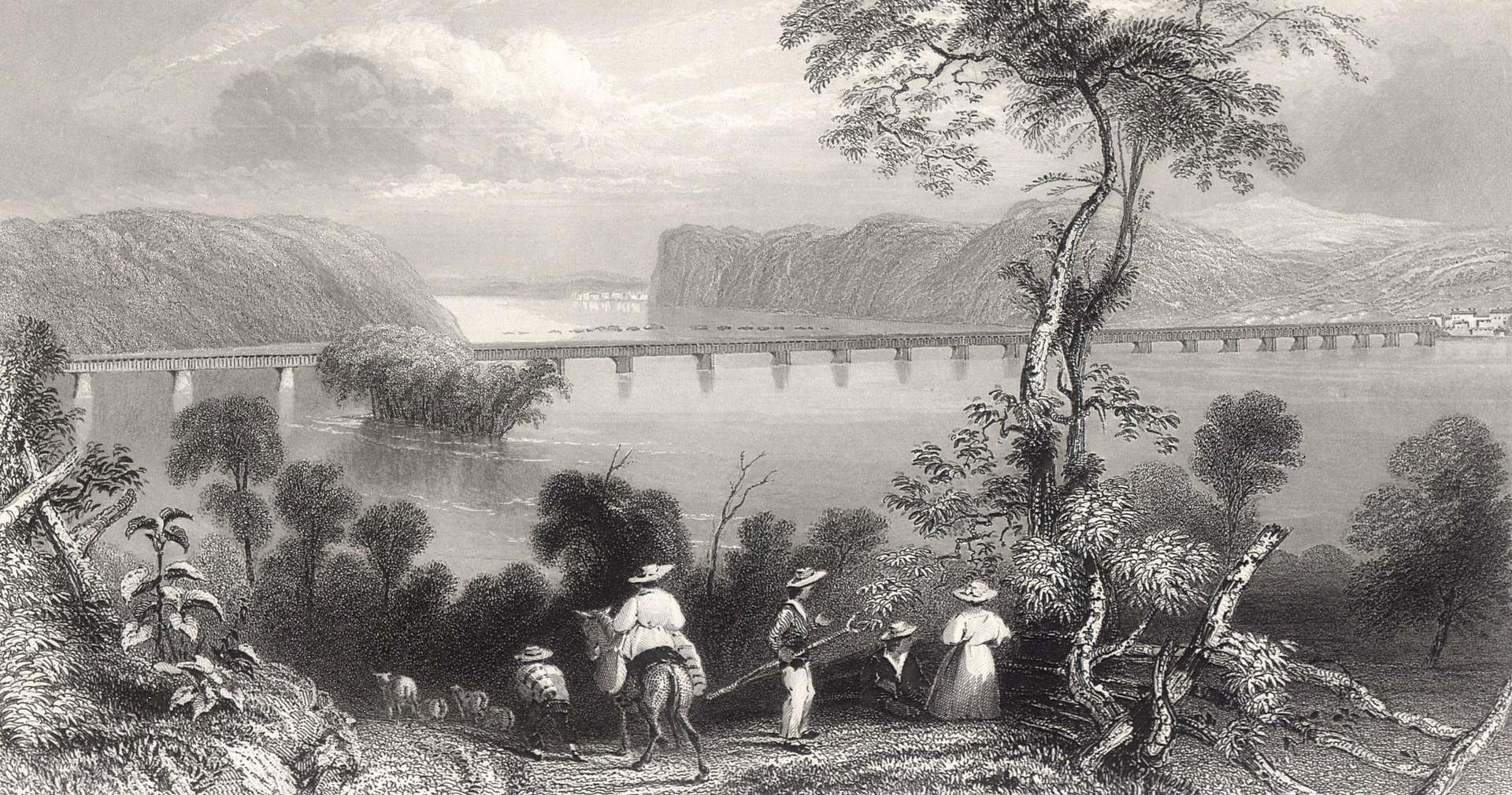 "After W. H. Bartlett, ""Columbia Bridge (on the Susquehanna)"""