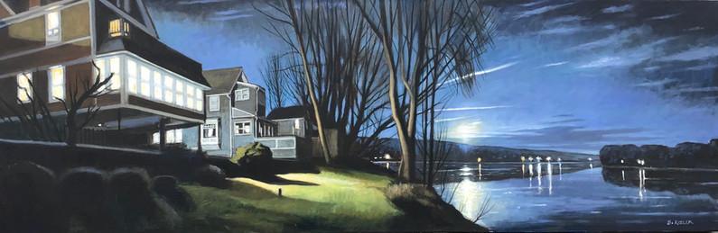 December Moonrise- Susquehanna at Owego,
