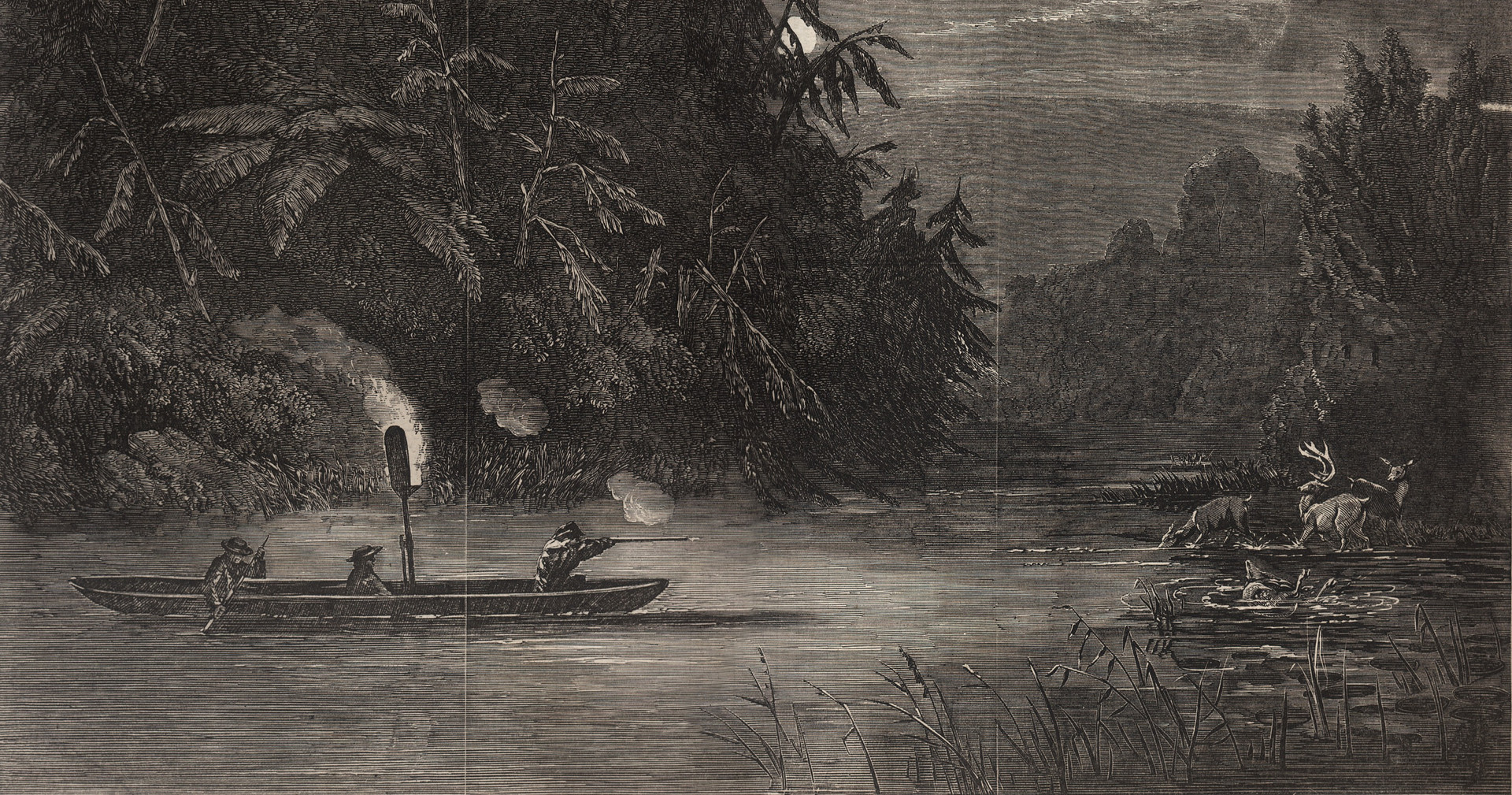 "After George Catlin, ""Water Hunting for Deer, A Night Scene on the Susquehanna, Penn."""