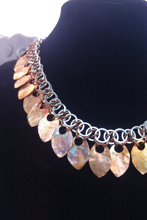 Flame-Painted Copper Scale Necklace