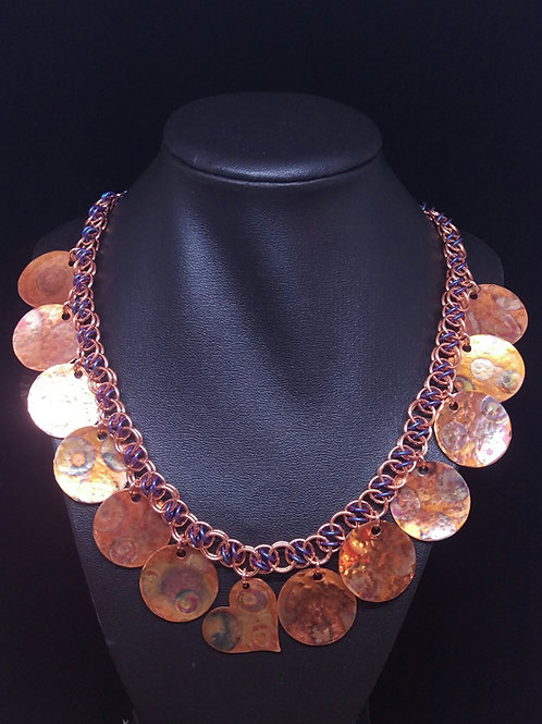 Flame-Painted Copper Statement Necklace