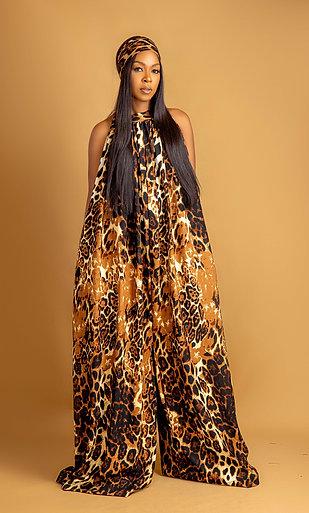 Leopard print jungle jumpsuit