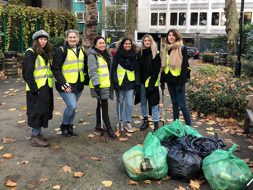 The Team after cleaning up trash for two hours in the streets of London.