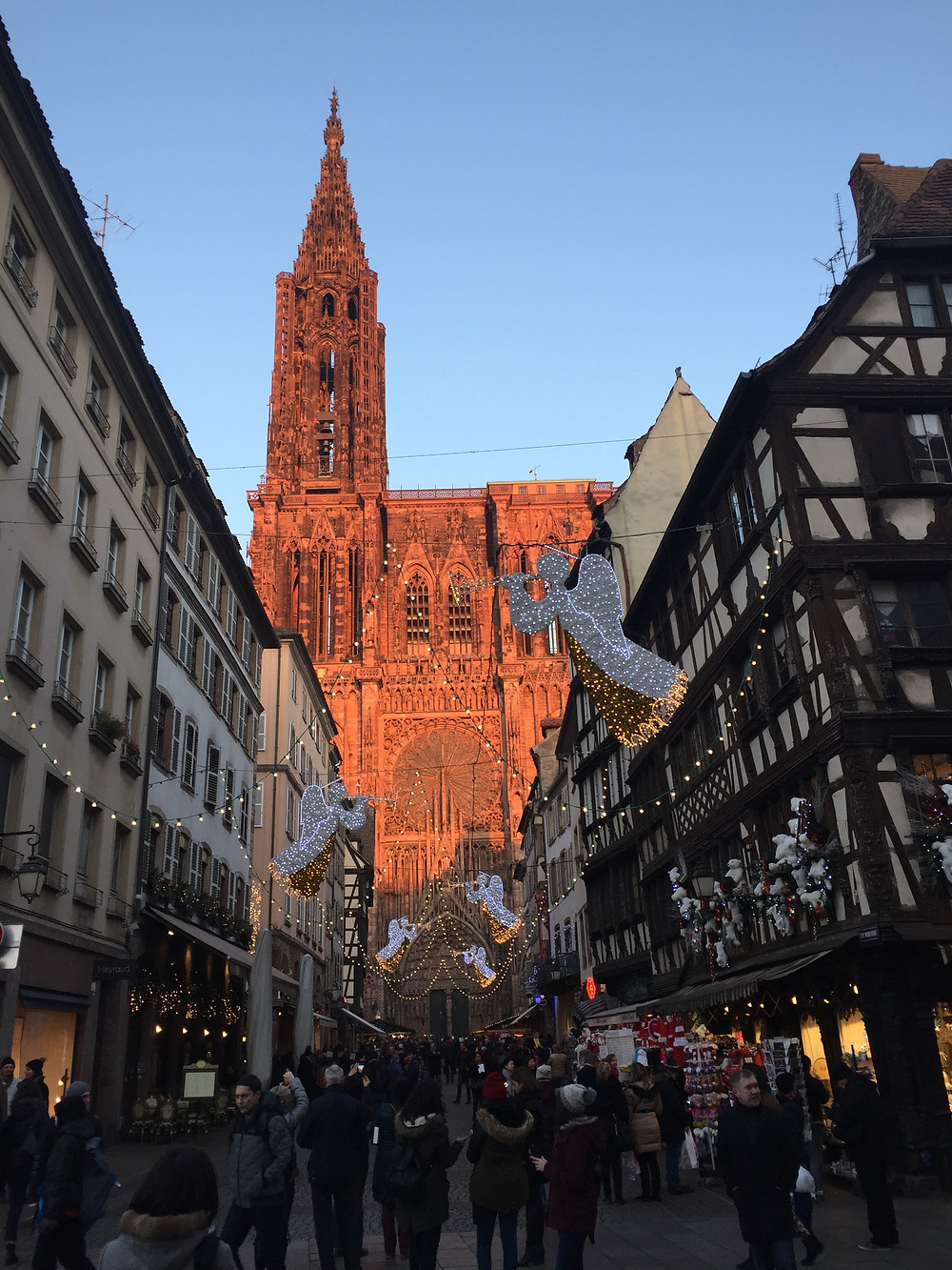 The Strasbourg Cathedral in the setting sun during Christmas