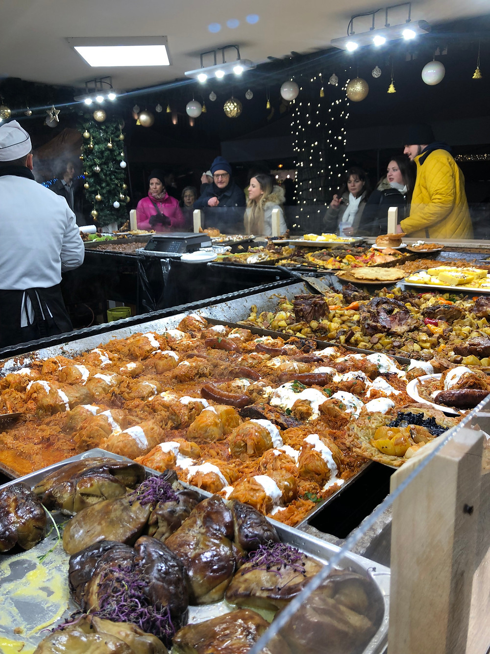 One of the food stands at the Budapest market