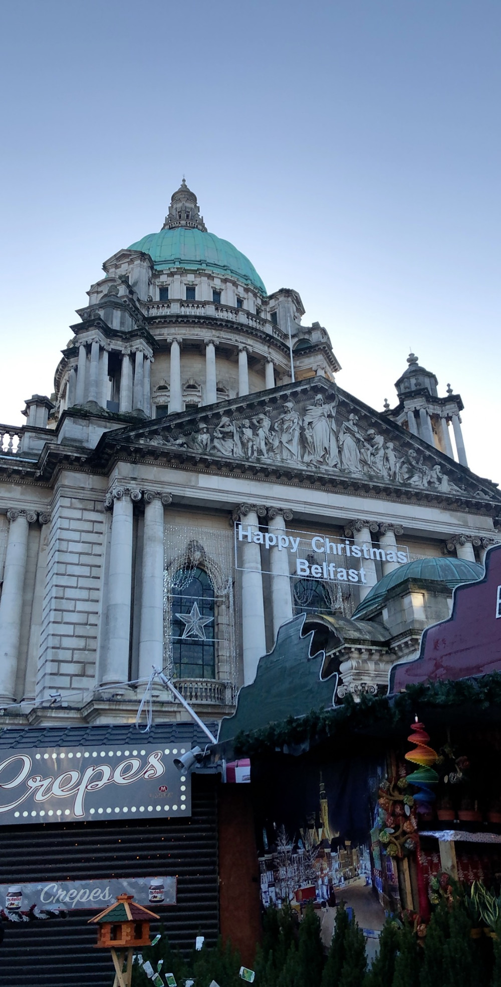 The Belfast City Hall decorated for the market