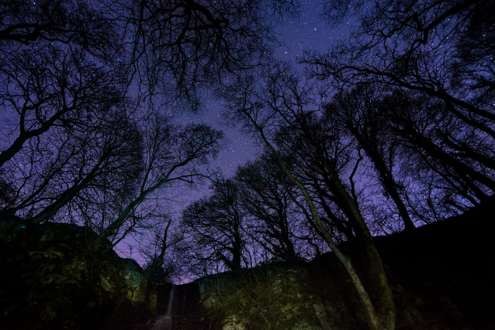 Waterfall Swallet - Nightscape photography Derbyshire
