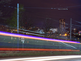 Urban landscape photography and Supertram light trails - Park Grange, Sheffield