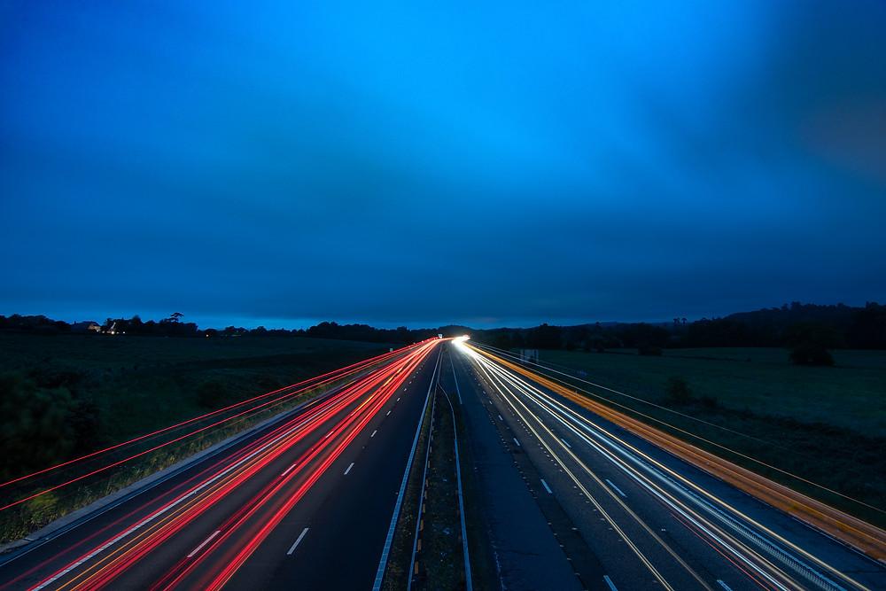 long exposure light trail photography motorway