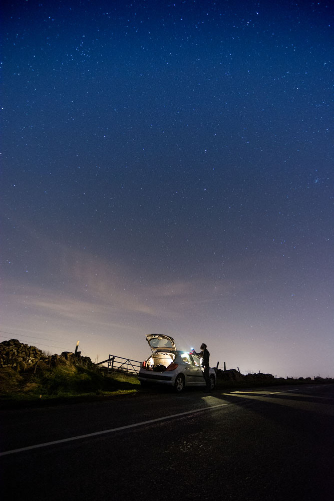 Long exposure night photography Derbyshire starry sky
