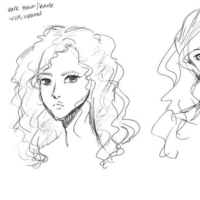 Mai Ri Elf hair sketches