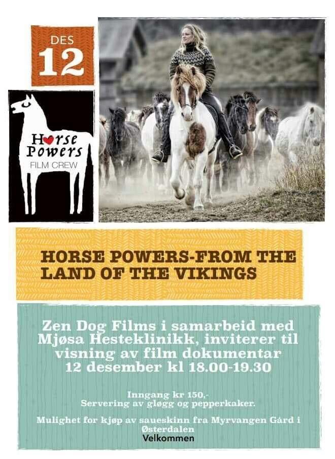 """Filmdokumentaren """"Horse Powers - from the land of the Vikings"""", fikk pris for beste utenlandske dokumentar under Equus filmfestival i New York forrige uke. Eva og John Learn fra Furnes har produsert filmen. Påmelding til post@mjosa-hesteklinikk.com eller 62576142"""