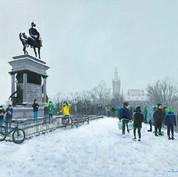 Snowy Kelvingrove at the Monument