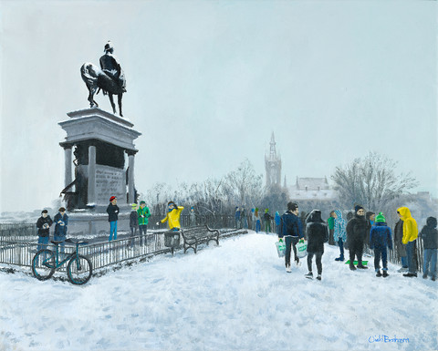 Snowy Kelvingrove at the Monument