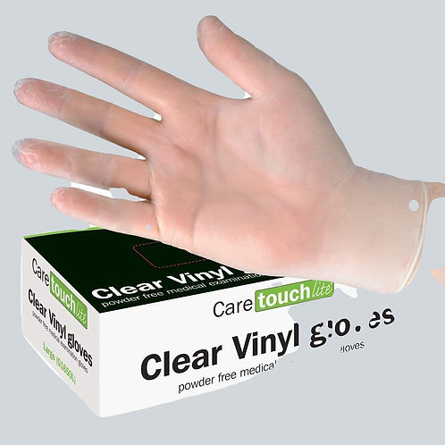 Clear Vinyl Powder Free Disposable Gloves Large (100)