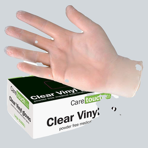 Clear Vinyl Powder Free Disposable Gloves Medium(100)