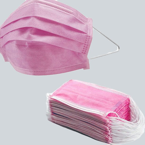 PINK DISPOSABLE FACE MASK 3PLY (1x50)