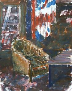Иллюстрация в классическом стиле - кресло на фоне британского флага. Автор - Таня Клят