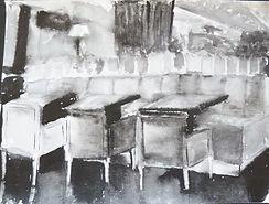 Черно-белая иллюстрация, выполнена акварелью. Автор Tanya Klyat