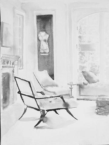 Черно-белая картина в классическом стиле. Акварель. Татьяна Смирнова