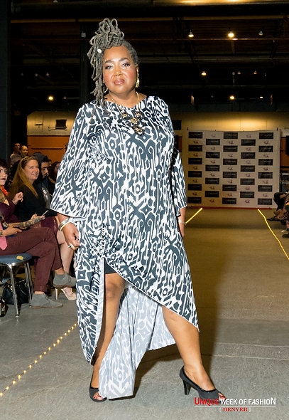 Bell Sleeve Bold Pattern Dress