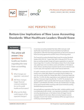 H2C Perspectives • Bottom-Line Implications of New Lease Accounting Standards: What Healthcare Leaders Should Know