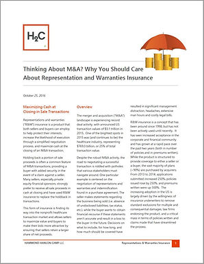 Thinking About M&A? Why You Should Care About Representation and Warranties Insurance