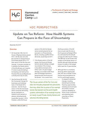 Update on Tax Reform: How Health SystemsCan Prepare in the Face of Uncertainty