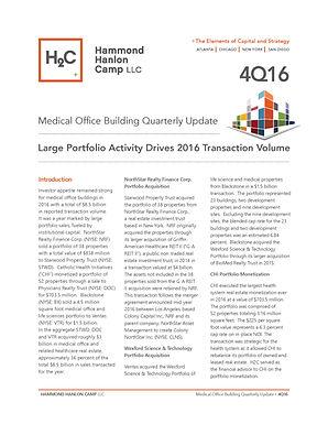 Hammond Hanlon Camp LLC Fourth Quarter Medical Office Building Report:  Large Portfolio Activity Drives 2016 Transaction Volume
