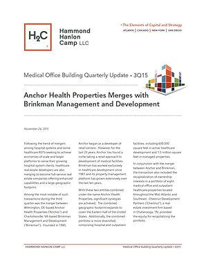 Hammond Hanlon Camp LLC Third Quarter Medical Office Building Report: Anchor Health Properties Merges with Brinkman Management and Development