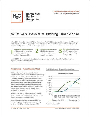 Acute Care Hospitals:  Exciting Times Ahead