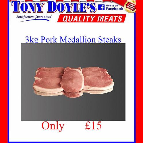 3Kg of Pork Medallion Steaks
