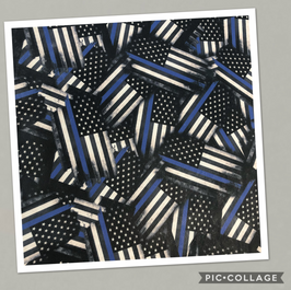 Thin Blue Line Flag on Gray