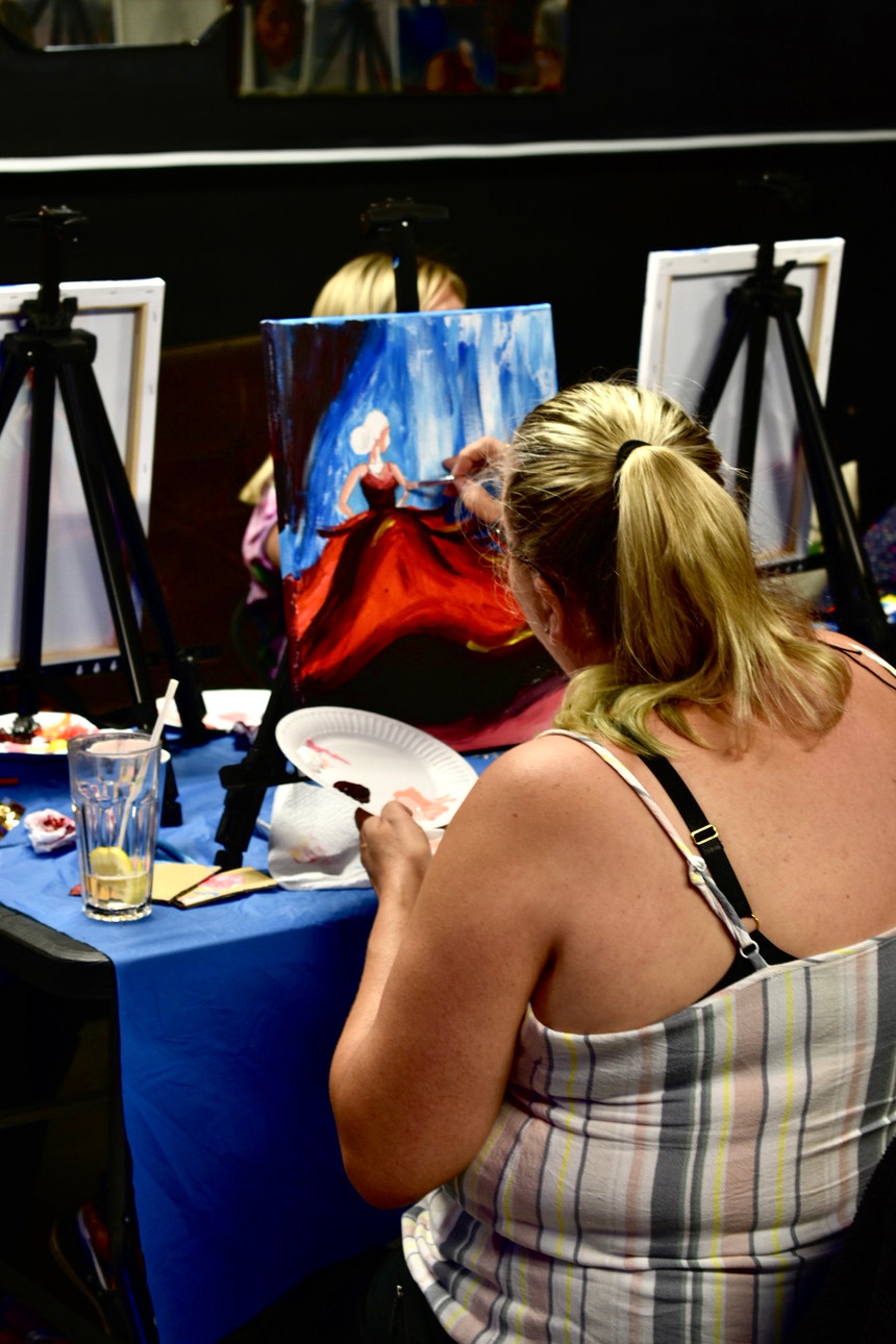 Lady In Red - Paint and Wine Night