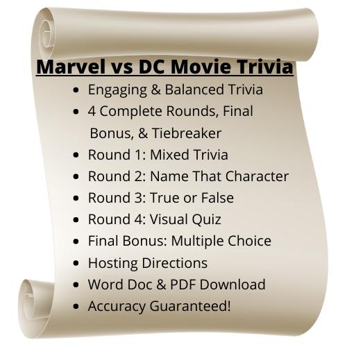 Marvel vs DC Movie Themed Trivia