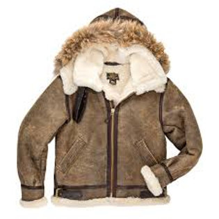 B-3 Jacket w/ Removable Hood Sheepskin