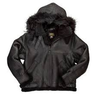 Black B-3 Jacket w/ Removable Hood Sheepskin Cockpit USA