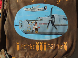 90th bomb group 321st BS squadron B-24 leather jacket nose art by McQuality Nose Art Studio