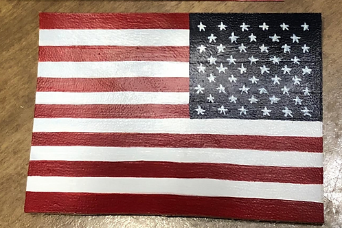 US American 50 Star Flag Leather Patch