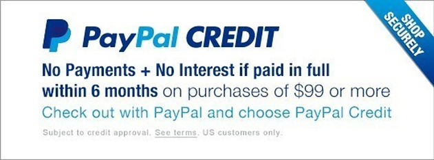 We accept PayPal Credit. Shop and pay with Paypal Credit. PayPal credit card.