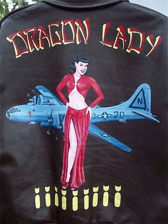 McQuality Nose Art Studio Leather Jacket Painting Art of B-29 Bettie Page pin up girl bomber japanese