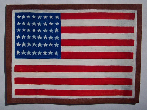 US American 48 Star Flag Leather Patch
