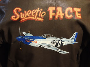 "P-51 Mustang ""Sweetie Face"" WWII airplane A-2 leather jacket art by Dan McQuality of McQuality Nose Art Studio"
