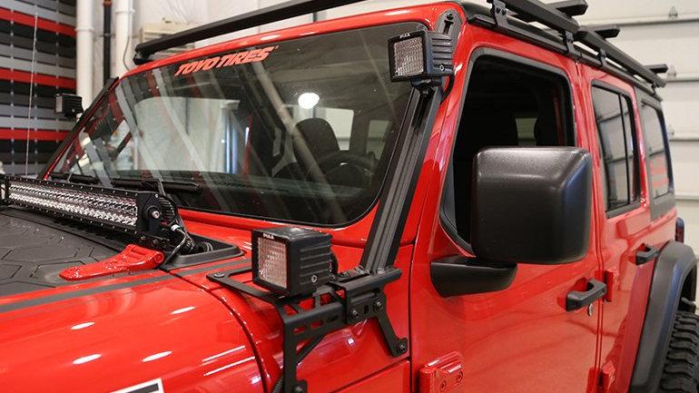Dee Zee A-Pillar Light Brackets, 07-18 Jeep Wrangler JK & JL