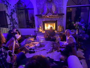 A special evening gathering in the temple room