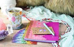 boho journal and mug setup with sage cry
