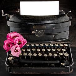 Old antique black vintage typewriter and