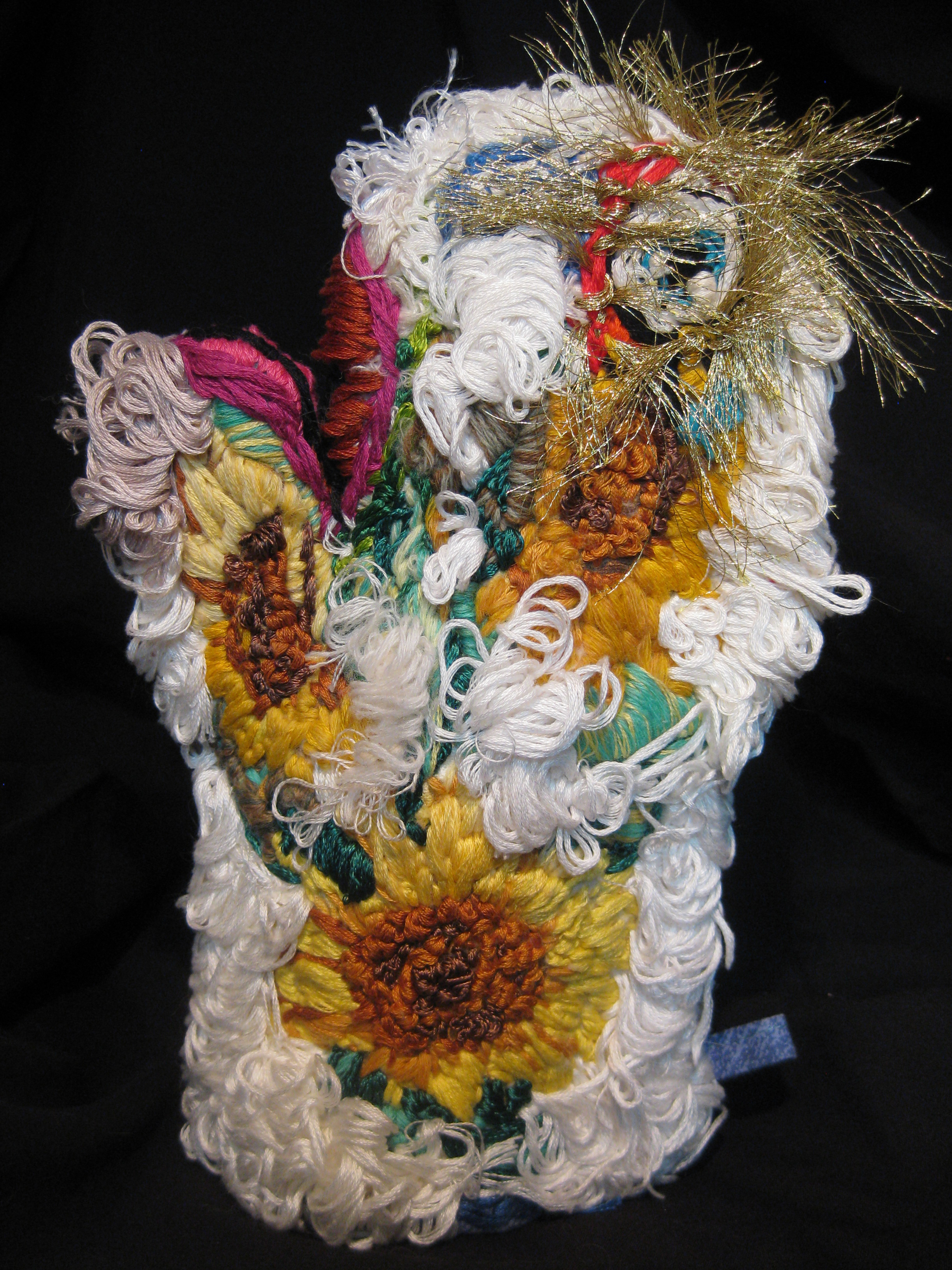 """Embroidered Oven Mitt: Sunflowers"""