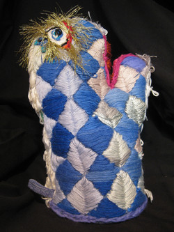 """""""Embroidered Oven Mitt: Blue Check"""""""