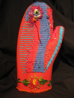 """""""Embroidered Oven Mitt: Red"""""""